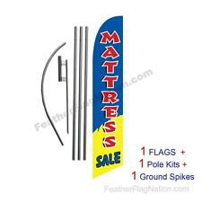 Yellow Blue Mattress Sale 15' Feather Banner Swooper Flag Kit with pole+spike