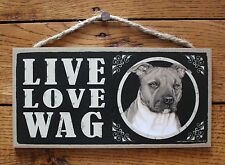 "Pitbull Sign Live Love Wag Dog Wood Plaque 5""x10""  Made In USA"