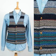 MENS VINTAGE 70'S RETRO KNIT WAISTCOAT VEST GILET STRIPED HIPPIE FOLK XS
