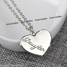 Daughter Heart Necklace Engraved Silver Xmas Jewellery Gifts For Her Niece Women