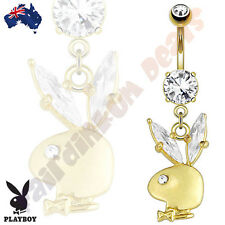 14kt Gold Plated genuine Playboy Bunny Belly Dangle with Clear Jewelled Ears