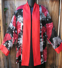 """ART TO WEAR BLACK AND RED FLORAL SILK KIMONO JACKET BY ARIS.A ,47""""B, SZ LARGE!"""
