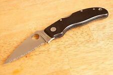 Spyderco knives Calypso Jr. vintage black micarta Rare knife aus-8 condition 9.5