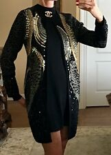 NWT Black Sequined Long Sweater Coat Size M $160