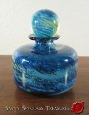 Michael Harris Mdina Gorgeous Sea Blue Swirl Maltese Art Glass Perfume Decanter