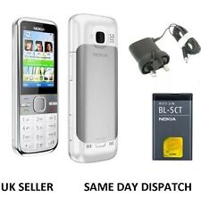 New Condition Nokia Brand C5-00 White 5MP Bluetooth FM Radio 3G Unlocked Phone