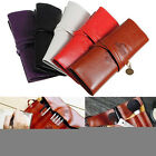 Fashion Retro Roll Makeup Pencil Pen Brush Case Purse Pouch Cosmetic Bag Leather