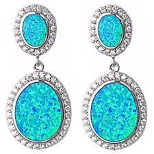 Wow! Beautiful Blue Fire Opal & Cz  .925 Sterling Silver Earrings