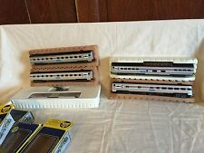 AHM HO Train Amtrek Passenger Train  Sleeper Cars Vista Dome Concor Boxcar Used