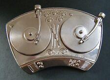 Turntables Twin Mixer Spinner Mix Rap Disco Music Dj Belt Buckle Boucle Ceinture
