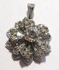 Bijou vintage pendentif signé SARAH COV couleur argent cristaux diamant  *925