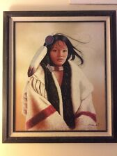 Framed J.Roman Giclee Painting  On Canvas  Of Native American Women Signed.