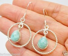 Natural Dominican Tear LARIMAR Gems Dangles Hook Earrings 925 sterling Silver
