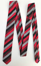 Skinny tie Red black grey Hortex NEW school uniform style Stripes Irish SHORT