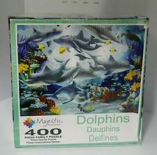 """Dolphins 400 pc. Jigsaw Family Puzzle by Majestic (New) Sealed oversize 20""""x27"""""""