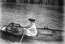 ANTIQUE NEGATIVE GLASS Film woman in boat rowing Victorian dress nice hat 1900
