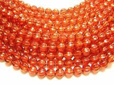 6mm Hyacinth Shimmer Czech Glass Fluted Melon Round Beads (25) #2157