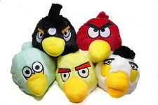 "5 x 6"" Angry Birds Soft Cuddly Plush Toys Black Red Blue Yellow White Bird Set"