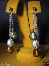 PEARL EARRINGS GRAY GREEN BROWN SILVER CHAIN GIFT HONORA DESIGNER Mother's Day