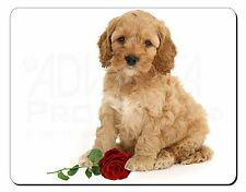 Cockerpoodle Puppy with Red Rose Computer Mouse Mat Christmas Gift Ide, AD-CP6RM