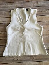 J.Crew Blouse Size L Cream Sleeveless Structured Exposed Zipper Back Stretch