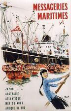 """""""MESSAGERIES MARITIMES"""" Affiche originale entoilée 1959 A. BRENET 69x104cm"""