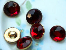 #1232T Vintage Glass buttons Japan Japanese Button ruby red Siam NOS