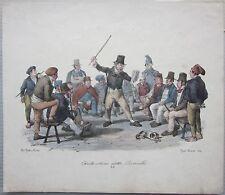 1835ca CANTASTORIE DETTO RINALDO litografia Gatti e Dura costumi Napoli