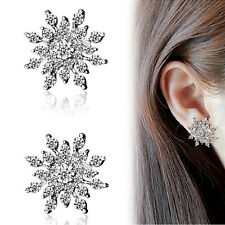 Fashion Elegant Womens Cute Crystal Rhinestone Snowflake Ear Studs Earrings Gift