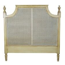 Antique Double Headboard French Country/Chateau Shabby Chic Style Wood Rattan