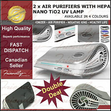 2 x Air Purifier With HEPA Nano TiO2 UV Lamp for mold Asthma relief *Video demo*