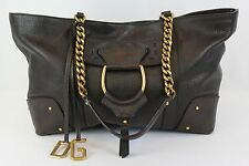 Dolce & Gabbana Brown Leather Handbag Purse Tote With Gold Chain Handle Strap