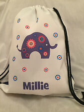 PERSONALISED Gym BAG for Sports Swim PE Dance - Elephant Design - any name