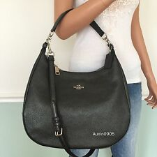 NEW! COACH Gunmetal Pebbled Leather Hobo Shoulder Crossbody Bag Purse Handbag