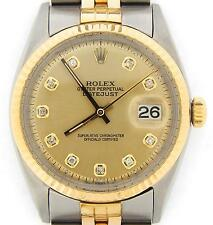 Mens Rolex Datejust 14k Gold & Stainless Steel Watch Champagne Diamond Dial 1601