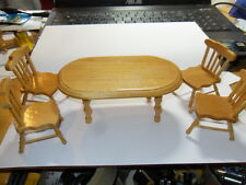 DOLLSHOUSE 1/12 SCALE 5 PC PINE TABLE AND CHAIRS SET