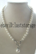 """sea shell pearl round white 12mm necklace pendant 18"""" nature wholesale beads gif"""