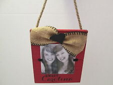"""Sweet Carolina"" Gamecocks Picture Frame, Distressed Wood and Burlap, NWT"