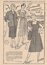 Patron à décalquer Femmes d'Aujourd'hui 1951 N°321 Ensemble de vacances T 50