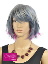 Celebrity Layered Straight Grey Blue Pink Funky Bob Wig Hair