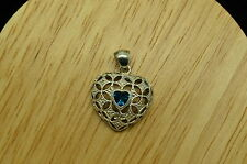 925 STERLING SILVER TEAL BLUE CUBIC ZIRCONIA HEART SHAPED PENDANT CHARM #A3113
