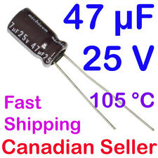 5pcs 47uF 25V 6.3x11mm 105 °C NICHICON PM Low Impedance For TV LCD AUDIO PS TFT