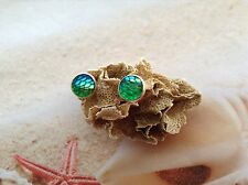 MERMAID FISH SCALE SEA BLUE GREEN COPPER SETTING NAUTICAL BEACH EARRING STUDS