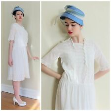 Vintage 1920s  White Cotton Tea Dress Embroidered Lace Short Sleeve Medium