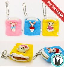Lot 3pcs Kawaii Cute Bear Rabbit Plush Ring Pouch Jewelry Case Mini Bag Charm