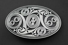 OVAL CELTIC PATTERN METAL BELT BUCKLE  SCOTTISH GAELIC