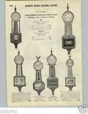 1928 PAPER AD Ingraham Waterbury Artistic Banjo Hanging Clock Eight Day