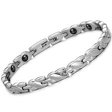 Ladies Stainless Steel Health Care Magnetic Stone Germanium Bracelet Bangle Gift