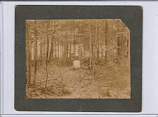 1902 Old Antique PHOTOGRAPH Man Woods OUTDOORS Pooping CURIO Candid Toilet ID'd