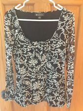 INC International Concepts Black & White Empire Waist Nylon Top-Size M
